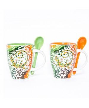 Set mugs con cuchara - Te Verde/Naranja