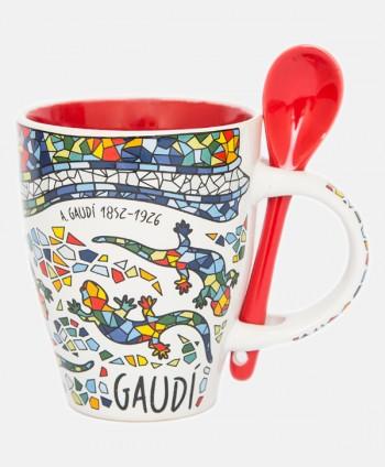 Mug con cuchara - Gaudí Rojo