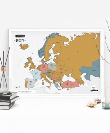 Póster Mapa Rascable Europa
