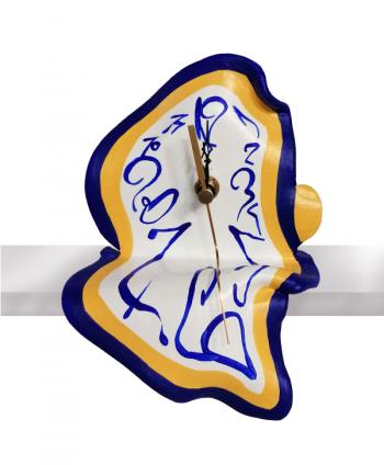 Surrealistic Clock Seated Blue