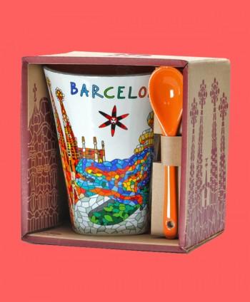 Mug with spoon - Barcelona...